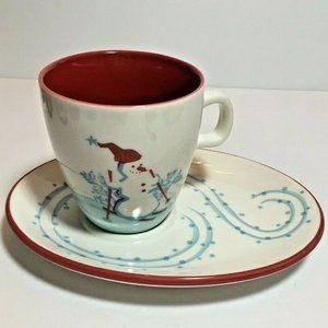 STARBUCKS Snowman Winter 2007 Espresso 6oz Cup Set